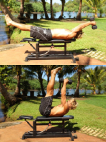 Toe Touch with Leg Raise and Dumbbell