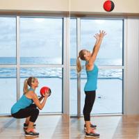 squat to overhead throw