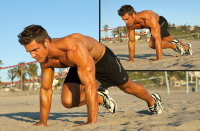 mountain climbers on beach