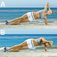 side plank crunches on beach