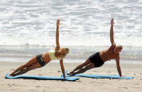 side plank on beach