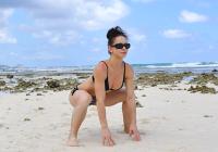 sumo squat on beach